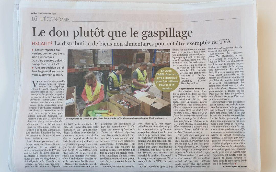 """""""La TVA sur les dons d'invendus non alimentaires bientôt supprimée"""" – Le Soir 21/2/2019"""