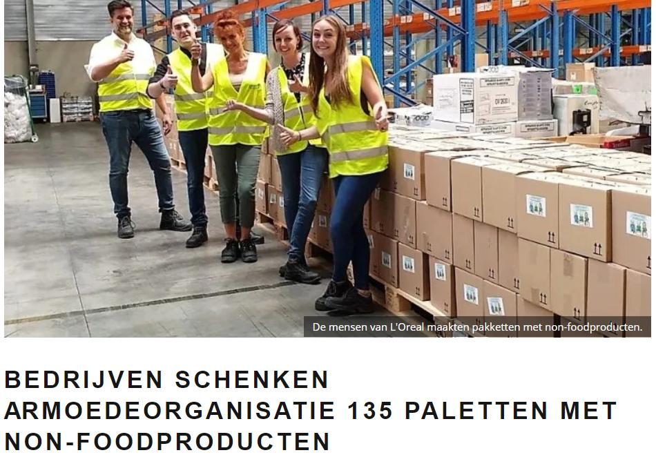 """""""Bedrijven schenken armoedeorganisatie 135 palletten met non-foodproducten"""" – Made In 17/10/2019"""